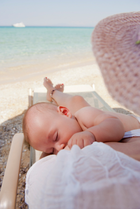breastfeeding on the beach