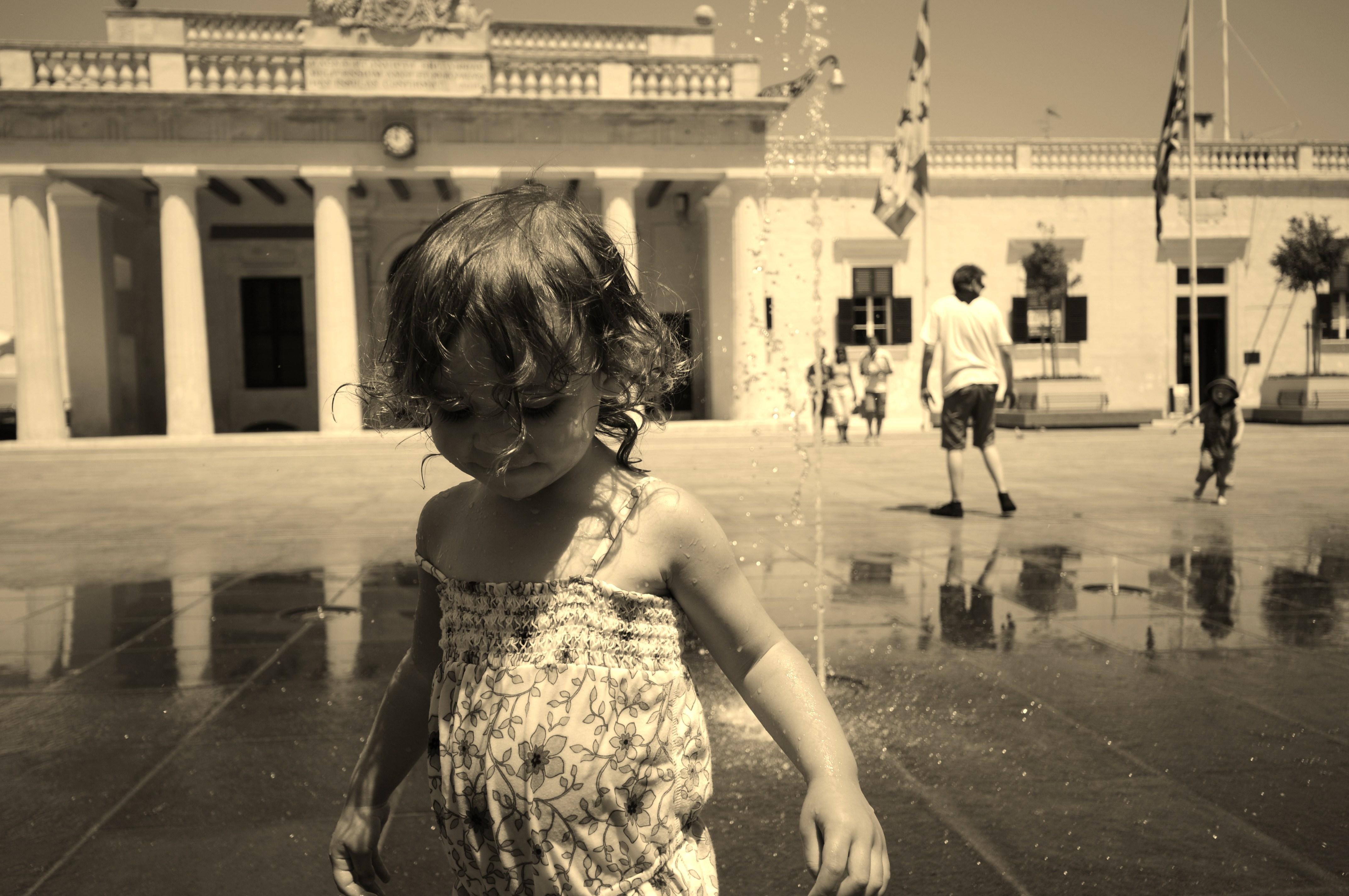 Playing in the fountain in Valletta